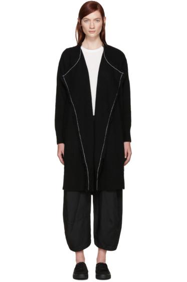 Y's - Black Wool Fringed Cardigan
