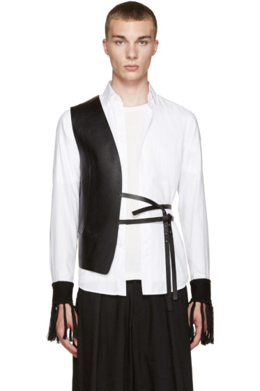 Isabel Benenato - Black Leather Half Vest