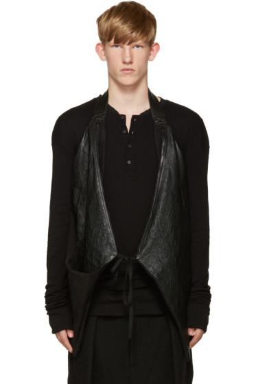 Isabel Benenato - Black Leather Halter Vest
