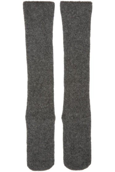 Isabel Benenato - Grey Knit Merino Socks