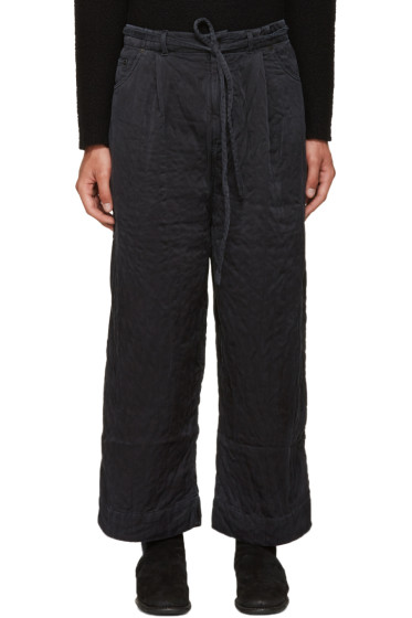 Craig Green - Black Ribbed Silk Trousers