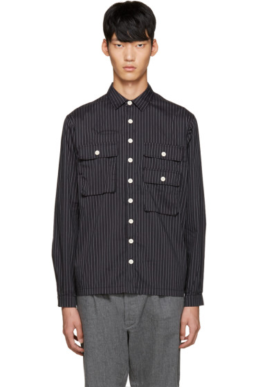 Sunnei - Black Pinstriped Pocket Shirt