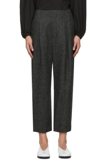 Enfold - Grey Pleated Cropped Trousers
