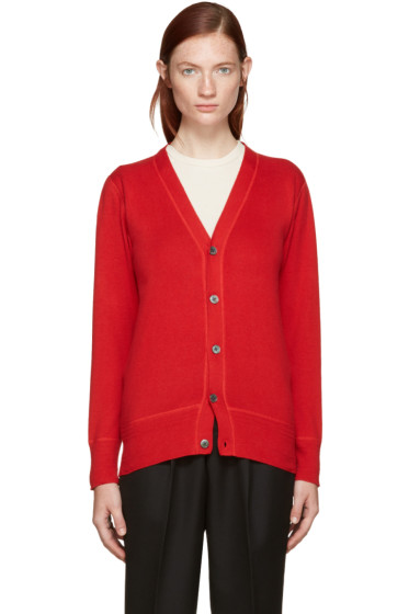 Hyke - Red Cotton & Cashmere Cardigan