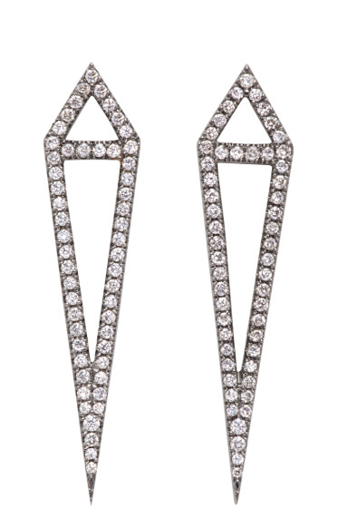 Eva Fehren - Blackened Gold Diamond Dagger Earrings