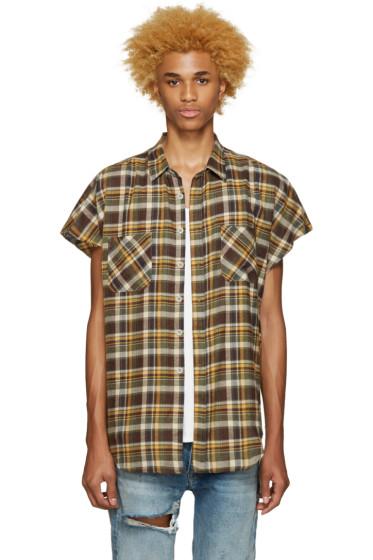 Fear of God - SSENSE Exclusive Green Flannel Sleeveless Shirt