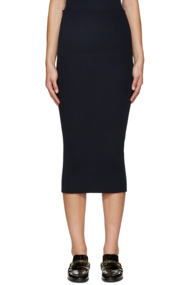 Victoria Beckham - Navy Ribbed Wool Skirt