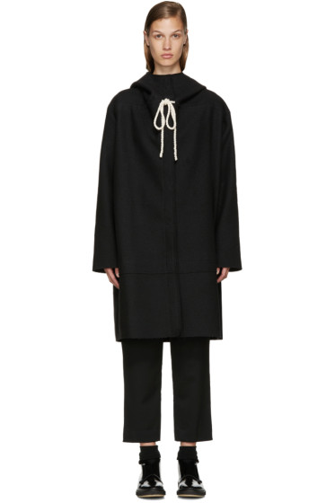Sara Lanzi - Black Hooded Coat