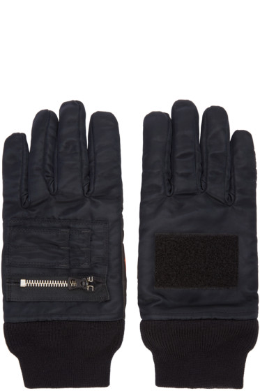 ganryu - Black Nylon Zip Gloves