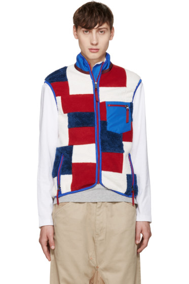 ganryu - Tricolor Fleece Patchwork Vest