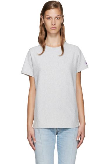 Champion Reverse Weave - Grey Logo T-Shirt