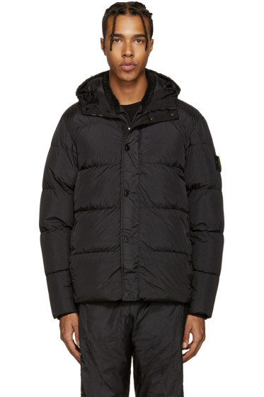Stone Island - Black Hooded Down Jacket