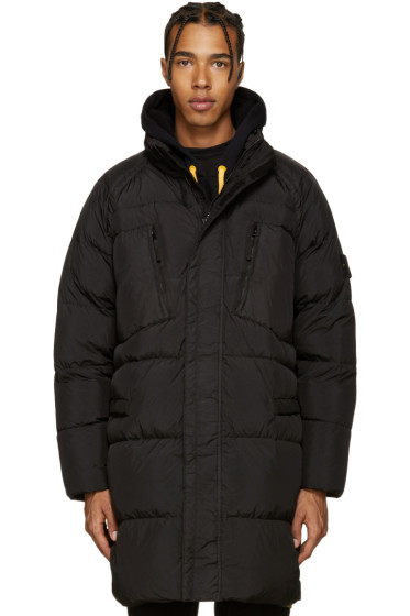 Stone Island - Black Down Long Crinkle Coat