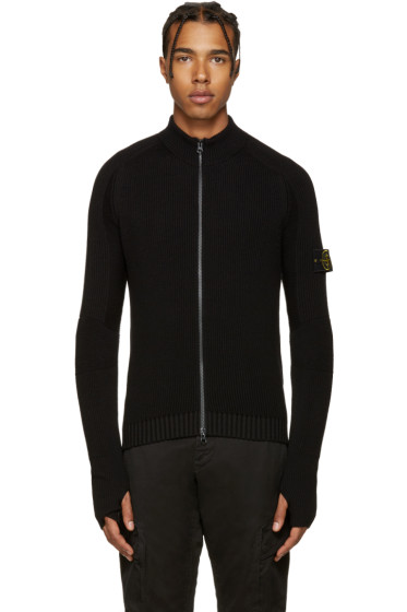Stone Island - Black Zip Knit Sweater