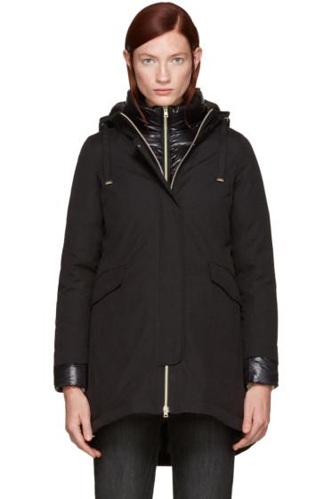 Herno - Black Down Brushed Cotton Coat