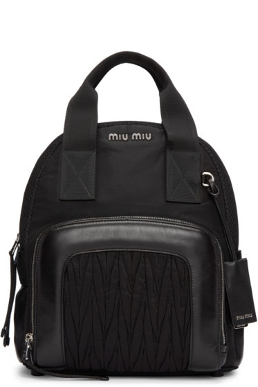 Miu Miu - Black Nylon Matelassé Backpack