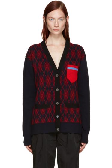 Miu Miu - Navy Wool Tartan Cardigan