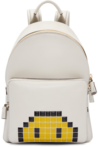 Anya Hindmarch - Ivory Mini Pixel Smiley Backpack