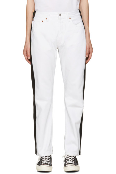 Bless - White & Black Pleatfront Jeans