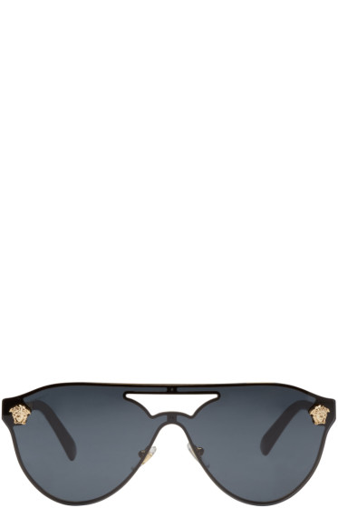 Versace - Black Pilot Aviator Sunglasses
