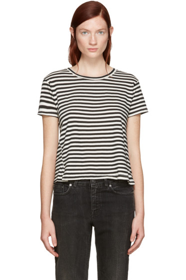 Amo - Black Striped Twist Cut-Out T-Shirt