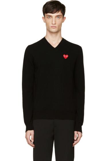 Comme des Garçons Play - Black Wool Heart Emblem Sweater
