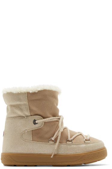 Moncler - Beige Shearling Fanny Ankle Boots