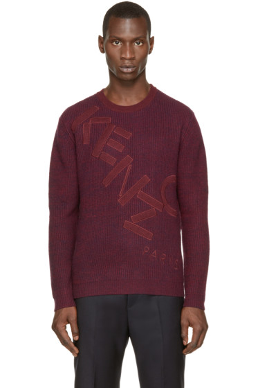 Kenzo - Burgundy & Navy Knit Logo Sweater