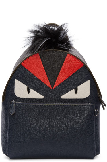 Fendi - Navy Fur-Trimmed Monster Backpack