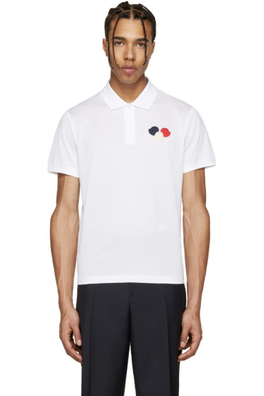 Moncler - White Embroidered Polo