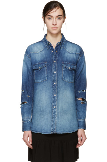 Saint Laurent - Blue Denim Western 70s Trash Shirt