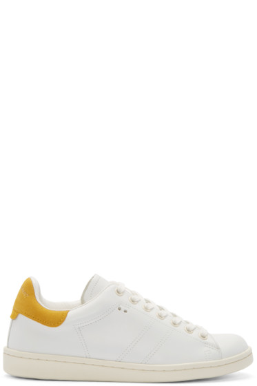 Isabel Marant - White & Yellow Bart Low-Top Sneakers