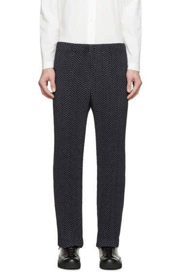 Homme Plissé Issey Miyake - Navy Pleated & Printed Trousers