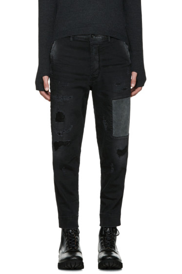 Diesel - Black Patchwork Carrot-Chino Jeans