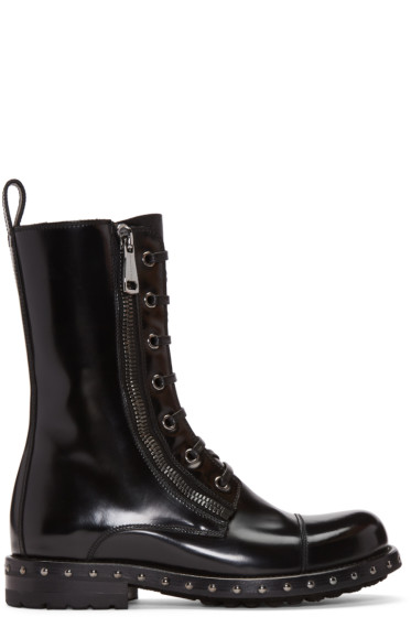 Dolce & Gabbana - Black Patent Leather Combat Boots