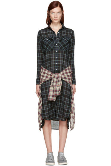 R13 - Black Plaid Grunge Dress