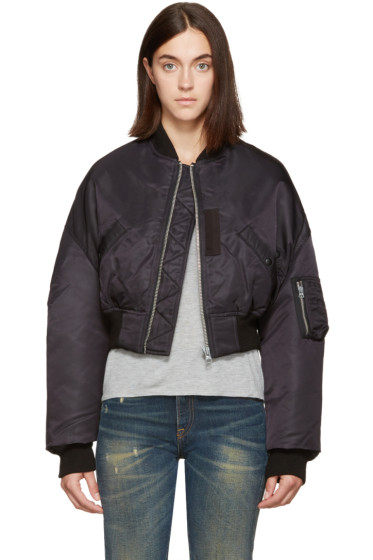R13 - Black Cropped Flight Bomber Jacket