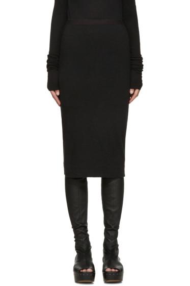 Rick Owens Lilies - Black Wool Jersey Skirt