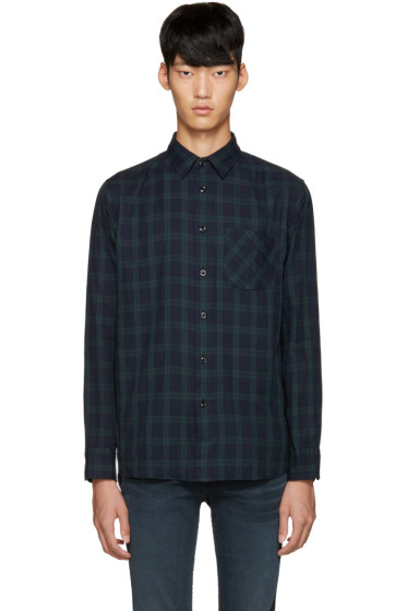 Rag & Bone - Navy & Green Plaid Shirt