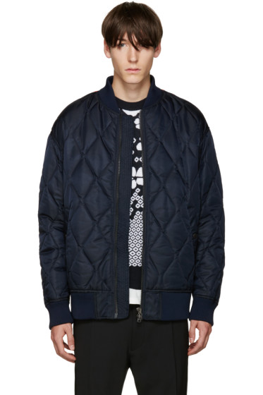 Diesel Black Gold - Navy Nylon Quilted Bomber Jacket