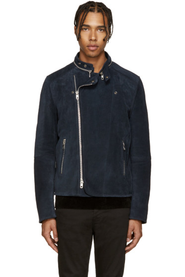 Diesel Black Gold - Navy Suede Biker Jacket