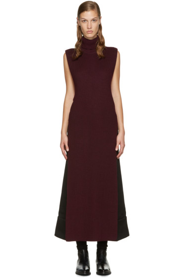 McQ Alexander Mcqueen - Burgundy Open Turtleneck