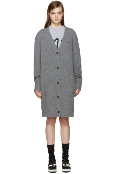 McQ Alexander Mcqueen - Grey Wool Long Cardigan