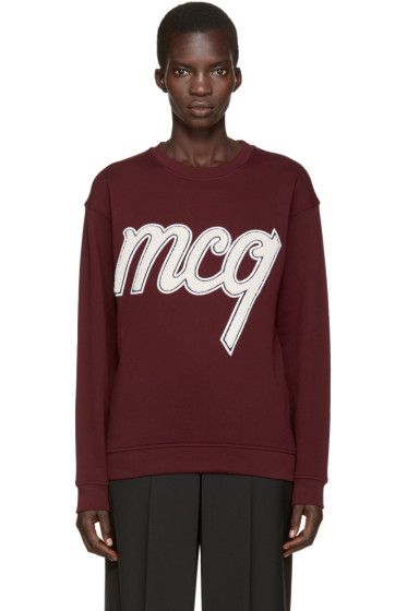 McQ Alexander Mcqueen - Burgundy Embroidered Pullover