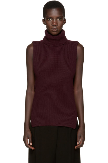 McQ Alexander Mcqueen - Burgundy Sleeveless Turtleneck