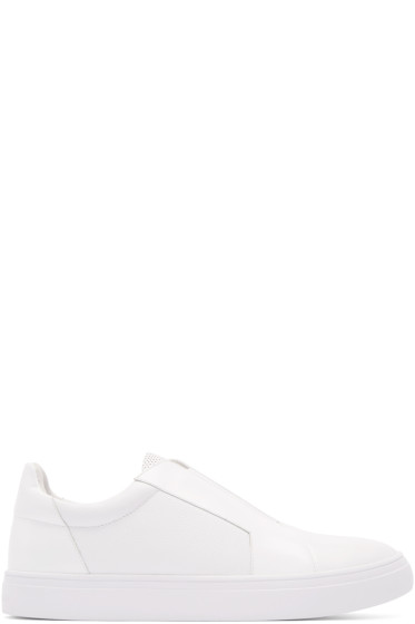 Tiger of Sweden - White Leather Slip-On Sneakers