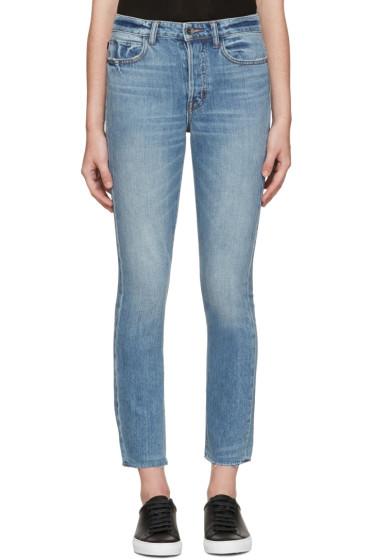 Helmut Lang - Blue High-Rise Fray Crop Jeans