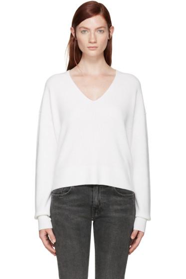 Helmut Lang - Off-White V-Neck Sweater
