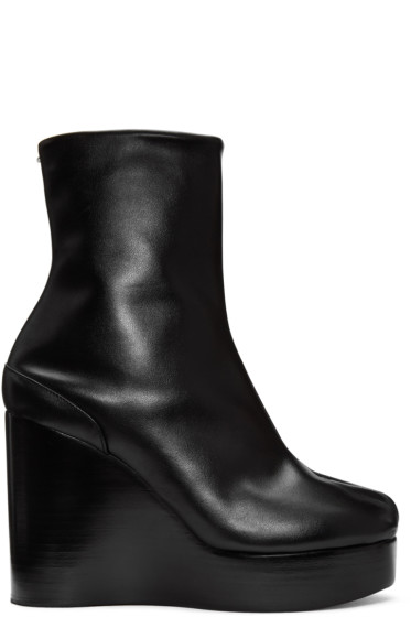 Maison Margiela - Black Wedge Tabi Boots