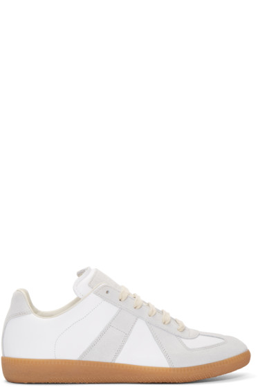 Maison Margiela - White & Grey Leather Replica Sneakers